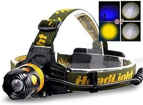 Koplamp koplamp LED schijnwerper blauw geel vissen wit licht koplamp frontale hoofd zaklamp zoomable fakkel lamp schijnwer...