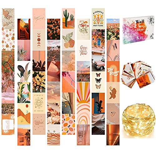 Wall Collage Kit Aesthetic Pictures, Aesthetic Room Decor for Teen Girls with LED String Lights, 50 Set 4x6 inch, VSCO Girls Bedroom Decor, Cute Boho Wall Decor, Dorm Photo Collection
