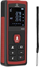 Qarfee Telémetro Láser Digital, 60M Medidor de Distancia Láser y Retroiluminación de LCD, Medidor de Rango de Burbuja de 2 Niveles M/IN/FT, IP54, 2 x 1.5V AAA Range Range Finder