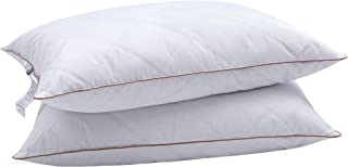 puredown® Natural Goose Down Feather Pillows for Sleeping with 100% Cotton Pillow Downproof Cover White Set of 2 King Size
