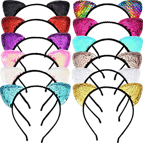 Tatuo 12 Pieces Glitter Cat Ear Headband Shine Sequins Cats Hair Hoop Bling Hairband Hair Accessories for Women Girls, 12 Colors