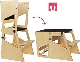 Bianconiglio Kids ® Moka TRS Torre de Aprendizaje Montessori Acabado Transparente, Madera Vista, Regulable en Altura, Convertible en Mesa. 5 Posiciones en 1 Objeto