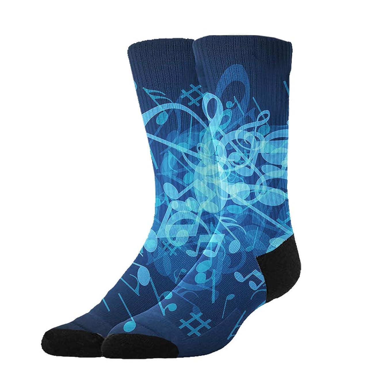 OKAYDECOR Women's Crazy Funny Crew Socks,Novelty Blue Musical Notes Socks