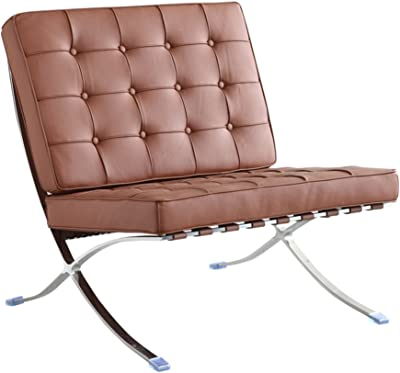 Fine Mod Imports FMI4000P-light Brown Pavilion Chair in Italian Leather, Light Brown