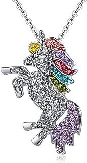 Collana unicorno, ciondolo arcobaleno ragazza catena d'argento regalo unicorno donna, collana unicorno in lega placcata ar...