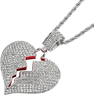 Men's Iced Out Full Diamond Broken Heart Pendant Necklace Chain Silver Gold