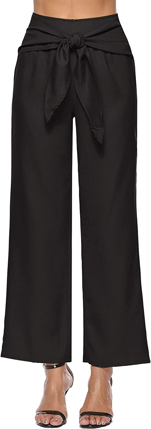 Absolufun Womens Casual High Waist Wide Leg Solid Knit Long Pants with Bow Tie Belt