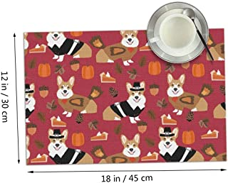 Thanksgiving Corgi Dog Cute Pumpkin Themed Print Pattern 4 Piece Set of Placemats Pc Party Kitchen Dining Room Home Table Place Mat Patio Holidays Decorations Decor Ornament