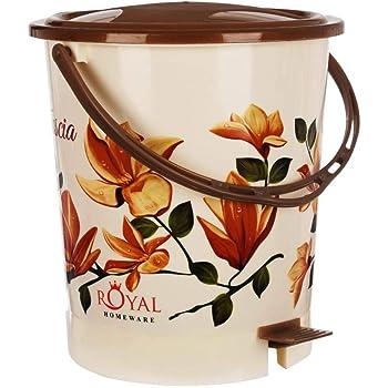 Fuscia™ Flower Design Plastic Dustbin 12L (Brown)