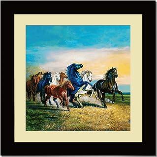 ArtX Paper Premium Lucky Running Horses Wall Art, Multicolor, Animal, 16X16 in, Set of 1