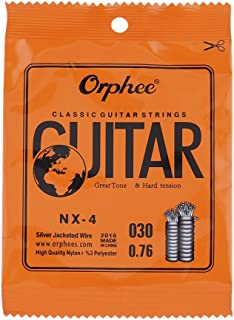 10pcs Orphee NX35-4 Clear Nylon Core Silver Plated 4-Th Fourth Single D Classical Guitar Strings (.030 inch)