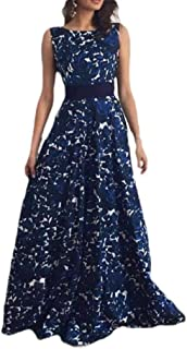Howely Women Smocked Waist Backless Printing Ball Gown Long Maxi Dress