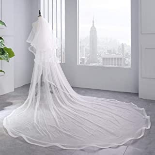 HXSD Bridal Veil Ivory White Cathedral Wedding Veils With Comb Birde Accessories 3 M Long Two Layers 2 M Wide Long Velos (Color : Ivory, Item Length : 300cm)
