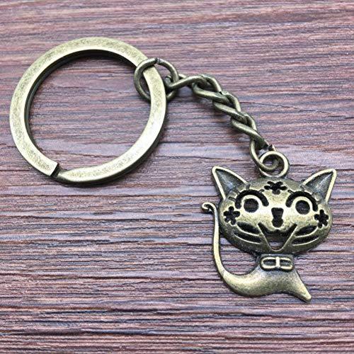 TAOZIAA Schlüsselring Smile Cat Schlüsselbund 24x21mm Antique BronzeFashion Handmade Metall Keychain Souvenir Geschenke für Frauen