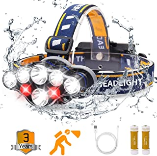 Headlamp, Rechargable Headlamp Flashlight 8 LED 20 modes Headlight with White Red Lights Waterproof HeadLamps for Adults C...