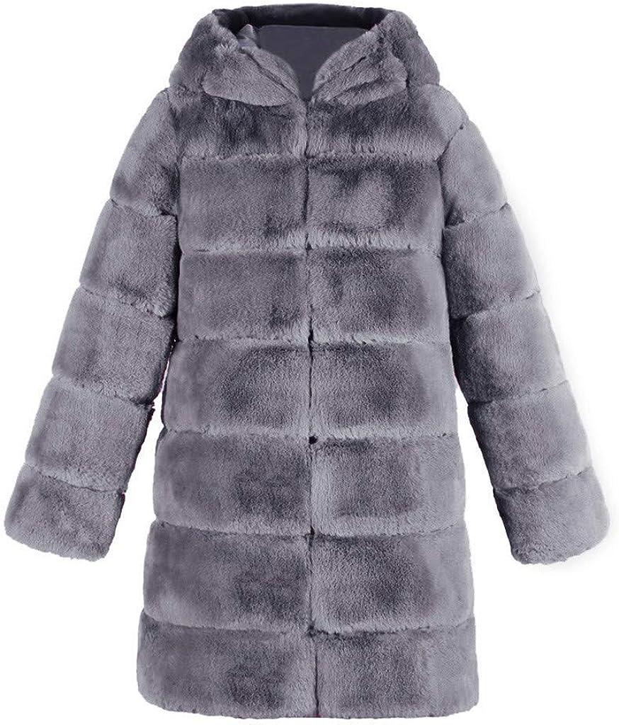 Balakie 2020 Womens Fashion Luxury Faux Fur Coat Hooded Autumn Winter Warm Overcoat