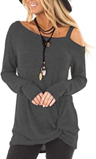 Women's Cold Shoulder Tunic Tops Long Sleeve Casual Blouses Front Knot Twist T-Shirt