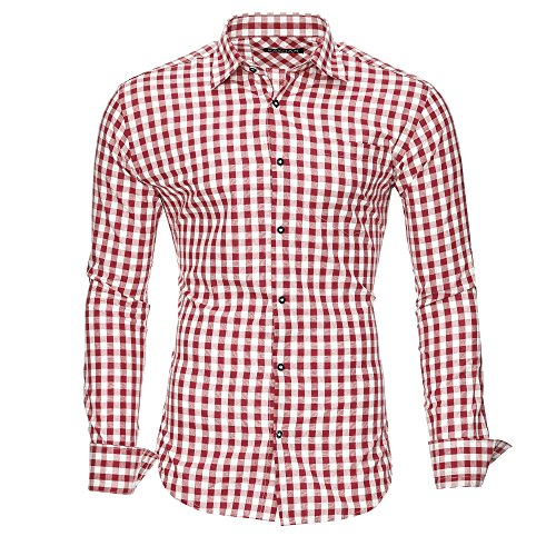 Kayhan Hombre Camisa Slim fit, Oktoberfest Red 5XL