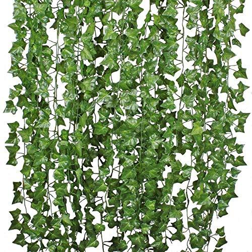 Aibesser 2 Stück Efeu Künstlich, Kunstpflanze Balkon Dekoration Vintage Plastik Pflanze Grün Efeu Pflanzen Efeuranke für Garten Hochzeit Party Wanddekoration, 12 * 2.2M, Grün