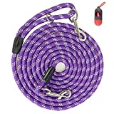 Codepets Long Rope Dog Leash for Dog Training 12FT 20FT 30FT 50FT, Reflective Threads Dog Cat Leashes Tie-Out Check Cord Recall Training Agility Lead for Large Medium Small Dogs (10mm12ft, Purple)
