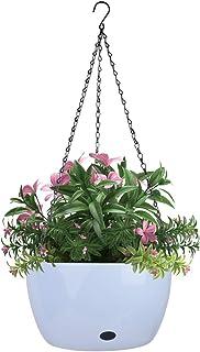 Vencer 11 Inch Round Resin Hanging Basket,Modern Decorative Planter Pot for All House Plants,Ice Blue,VF-160I