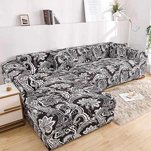 Fundas de sofá en Forma de L para Sala de Estar Material elástico sofá de Esquina Funda de Silla Funda de sofá sofá seccional A12 2 plazas