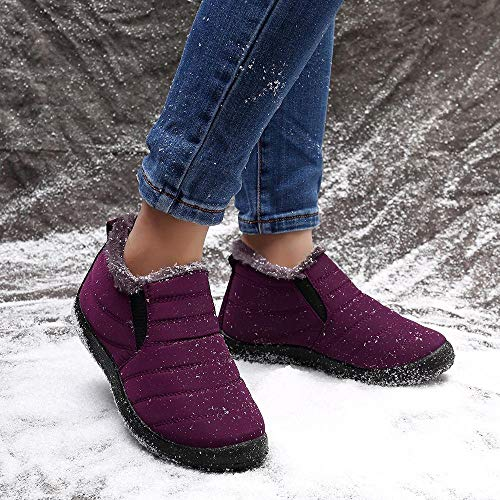 LOSTISY Women Snow Shoes Waterproof Ankle Boots Red / 10