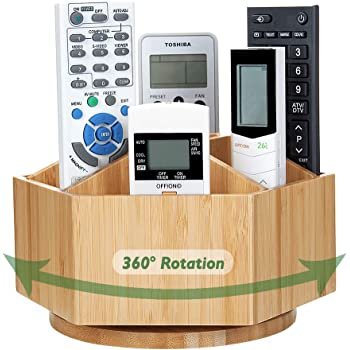 Bamboo Rotating TV Remote Control Holder Organizer,Remote Control Caddy with 7 Sections for Keys, Remote Controls,Nail Clippers,Medication and More,All-in-one Living Room Holder