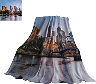 Unpremoon City,Personalized Blankets Early Morning Scenery in Melbourne Australia Famous Yarra River Scenic Lightweight Plush Throws 70