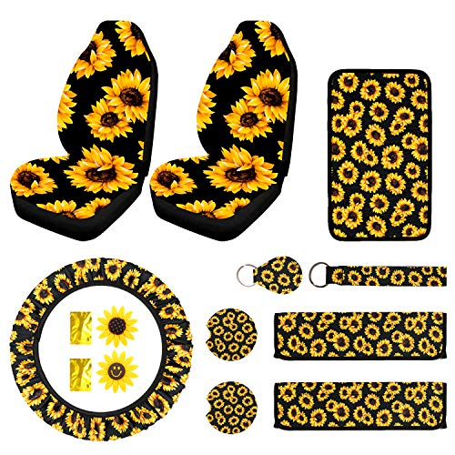 12PCS Sunflower Car Accessories Set Include Car Front Seat Covers, Sunflower Steering Wheel Cover, Universal Console Cover, Sunflower Keyring, Seat Belt Shoulder Pads, Car Vent Decor&Cup Coaster.