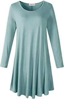 LARACE Women's Long Sleeve T Shirt Dresses with Pockets Tops Plus Size Swing Tunic(Grayish Green, L)