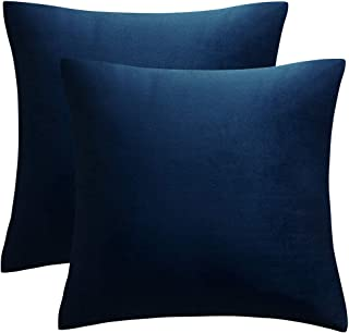 JUSPURBET Velvet Pillow Covers,Pack of 2 Decorative Throw Pillow case for Couch Bed Sofa,Soft Cushion Pillowcase,20x20 Inches,Navy Blue