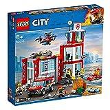 LEGO CityFire CasermadeiPompieri, Set di Costruzioni con Fuoristrada Giocattolo, Scooter Acquatico, Drone e 3 Minifigure di Vigili del Fuoco pi un Mattoncino Luminoso e Sonoro, 60215