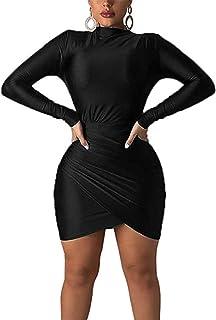 فساتين ضيقة قصيرة بأكمام طويلة للنساء - فساتين قصيرة مثيرة بحاشية زهرة التوليب صغيرة سوداء صغيرة