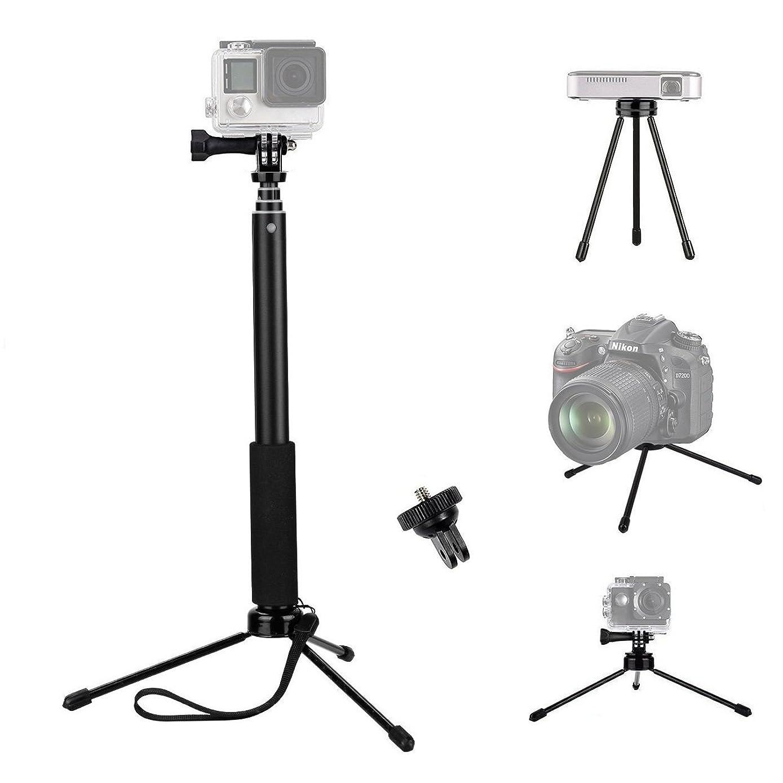 vvhooy extendable selfie STICK 带通用迷你三脚架支架和适配器适用于 Gopro Hero 6?/ 5?/ Xiaomi Yi 4?K / akaso ek7000?/ 勇敢4?/ apeman / dbpower / fitfort / CROSSTOUR 体育运动摄像机 and more 25.4?CM )