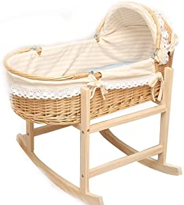 Moses Basket Bedding Set Curve Rocking Stand Hooded Liner Sheet and Pad Natural Travel Cot Folding Bassinet Inclusive Mattress and Toy