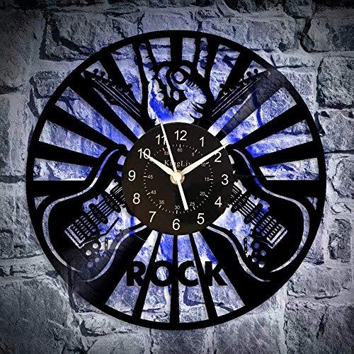 KingLive Guitarra Rock Vinilo Relojes Casa Decoración Manualmente Diseño Hombre y Mujer (led)