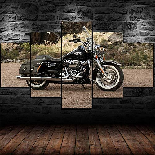 HGYG 5 Pieza Cuadro en Lienzo Motocicleta Clásica Vintage Davidson Cuadros Modernos Impresión de Imagen Artística Digitalizada Lienzo Decorativo