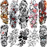 SANATA 10 Sheets Extra Large Sexy Rose Flower Full Arm Sleeve Temporary Tattoos For Women 3D Big Peony Blossom Gun Cross Tatoo Death Skull Colorful Fox Wolf Fake Tattoo Sleeve Face Sticker Leg Hands