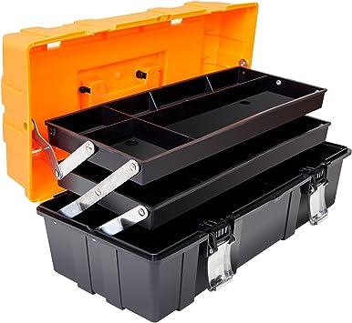 Torin 17-Inch Plastic Tool Box,3-Tiers Multi-Function Storage Portable Toolbox Organizer, Black/Orange ATRJH-3430T: image
