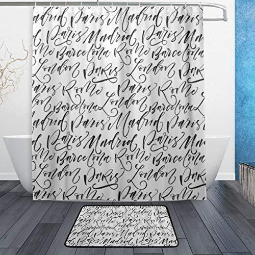 HATESAH Duschvorhang Fußpolster Kombination Wasserdicht Schimmelresistent PVC Eva Mit Haken Badezimmer,Namen der Städte Paris Madrid Barcelona Rom London Tinte Moderne Pinsel Kalligraphie