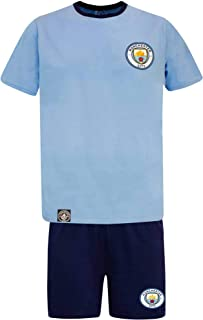 Official Adults Manchester City Crest Adults Pyjamas & Lounge Shorts Set (100% Cotton - Sizes S to XL)