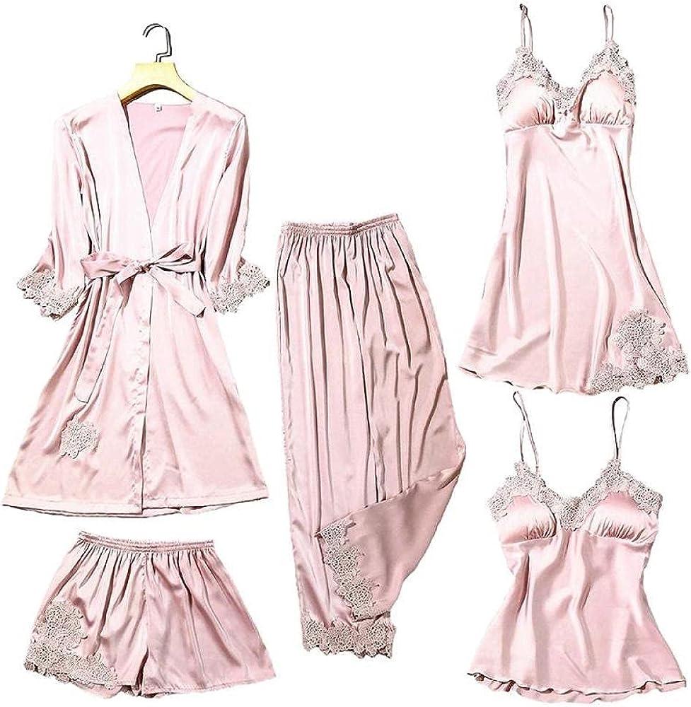 Satin Lace sale Pajamas Set Women 5PC Sleepwear Pants Super beauty product restock quality top Strap Top Sleep