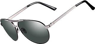 Kennifer - Aviador gafas de sol polarizadas para hombre Marco de metal Moda Espejo Lente Unisex Gafas Conducción Pesca Ciclismo Compras Golf Deportes Gafas, UV400