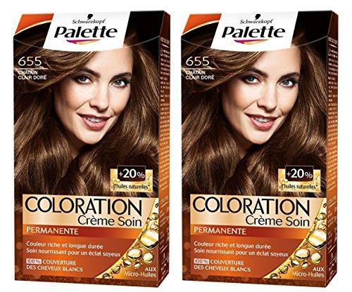 Schwarzkopf - Palette - Coloration Permanente Cheveux - Chatain Clair Dore 655 - Lot de 2