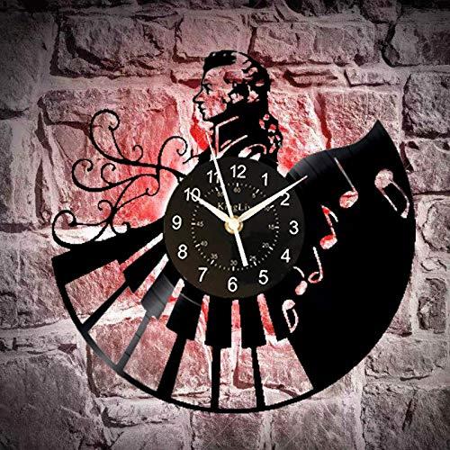 KEC Reloj de Pared Músico Relojes de Discos de Vinilo Reloj clásico Retro Tiempo Hecho a Mano Decoración de Arte de Pared (tamaño: 30 cm de diámetro, Color: Negro) Relojes de Pared
