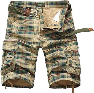 Saoye Fashion Men Cargo Shorts Casual Pants Checked Pattern Short Pants Multi Clothing Pocket Army Short Vintage Slim Summ...