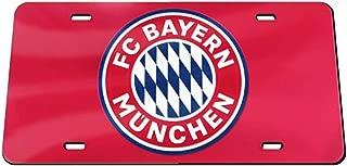 FC Bayern Munich Premium License Plate, Thick Plastic with Red Mirror Finish