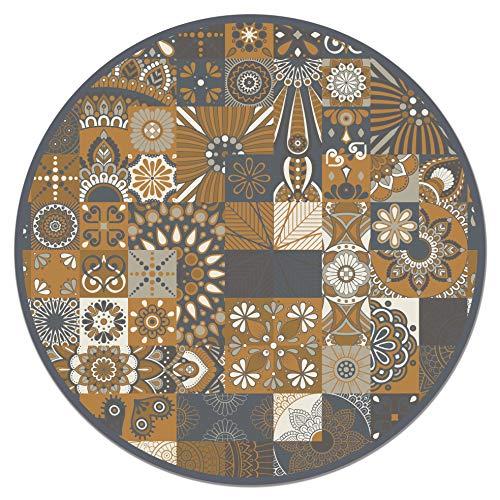Panorama Tapis du Sol Vinyle Carreaux Ciments Orange Rond 150x150 cm - Tapis de Cuisine en PVC Linoléum Vinyle - Antidérapant Lavable Ignifuge - Tapis pour Cuisine Bureau Salon - Protection du Sol