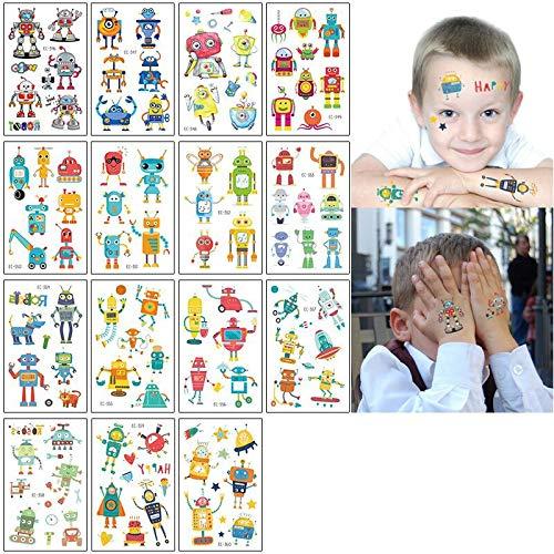 BLOUR 15PCS / Lot Temporäre Tätowierungen wasserdicht gefälschte Tätowierung Kinder Kind Cartoon kleines Tattoo Einhorn Pferd Tätowierung Aufkleber Hand Finger Gesicht